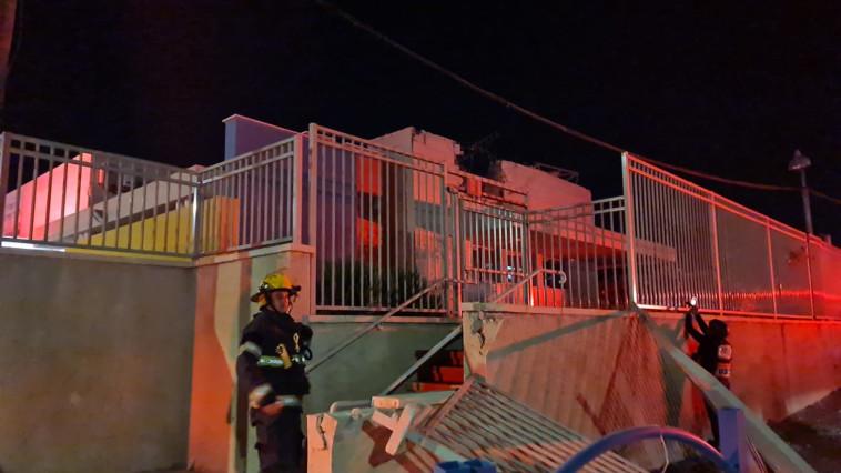 The scene of the rocket fall in a kindergarten in Sderot (Photo: Ihud Hatzalah)