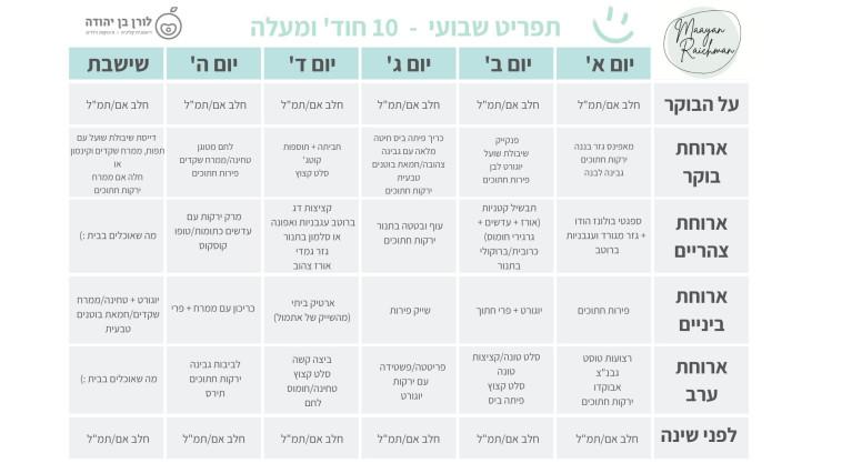 תפריט שבועי של מעיין רייכמן ולורן בן יהודה (צילום: באדיבות המחבר)