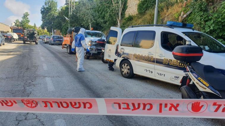 זירת האירוע בגבעת זאב (צילום: דוברות המשטרה)