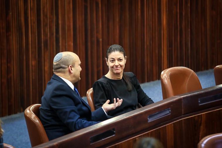 מרב מיכאלי ונפתלי בנט ביום הבחירות לנשיאות (צילום: נועם מושקוביץ, דוברות הכנסת)