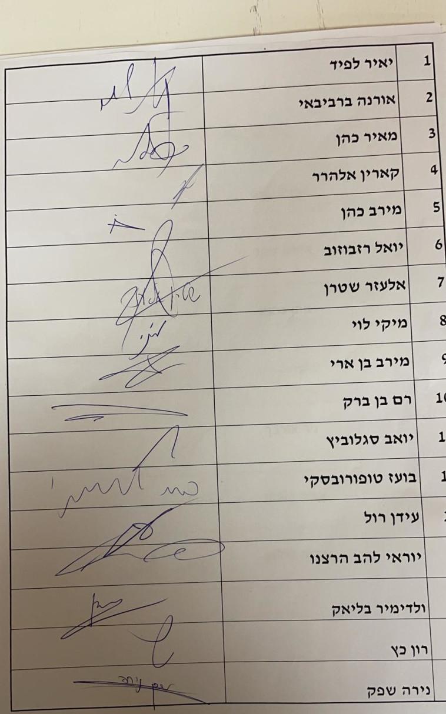 חתימות חלק מהח''כים (צילום: ללא)