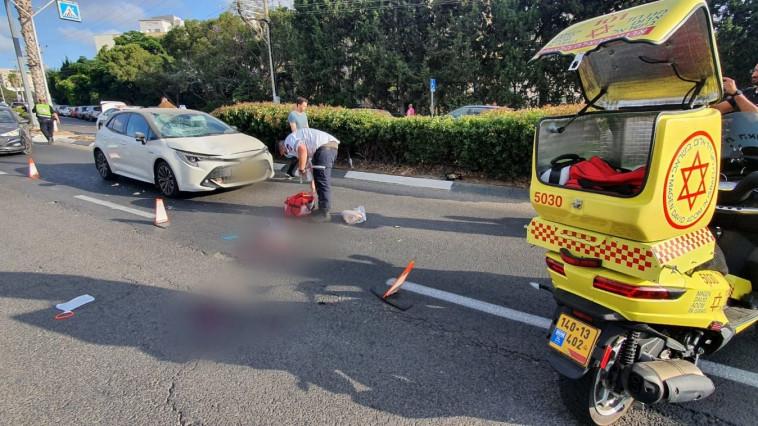 זירת התאונה בחיפה (צילום: תיעוד מבצעי מד''א)
