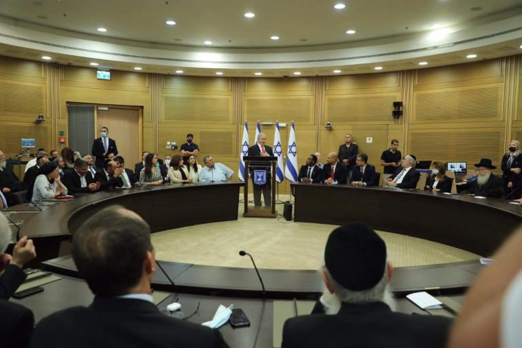 ישיבת מפלגות הימין בכנסת  (צילום: מרק ישראל סלם)