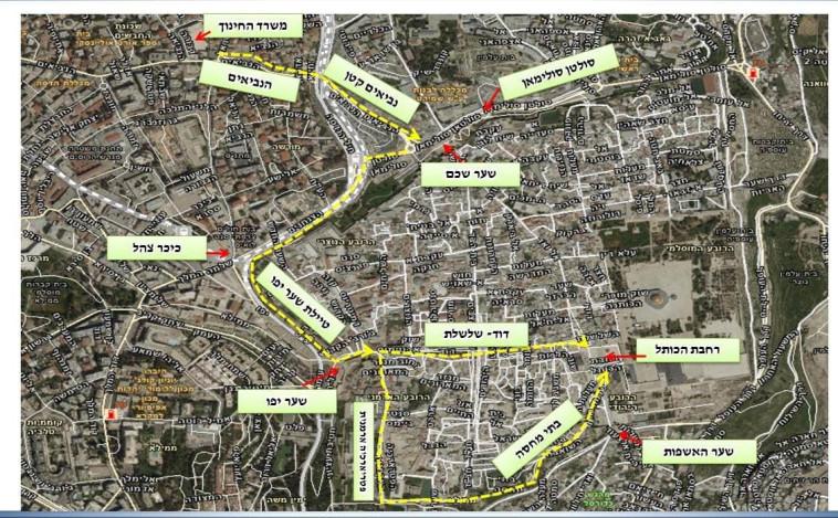 מפת מצעד הדגלים בירושלים (צילום: משטרת ישראל)