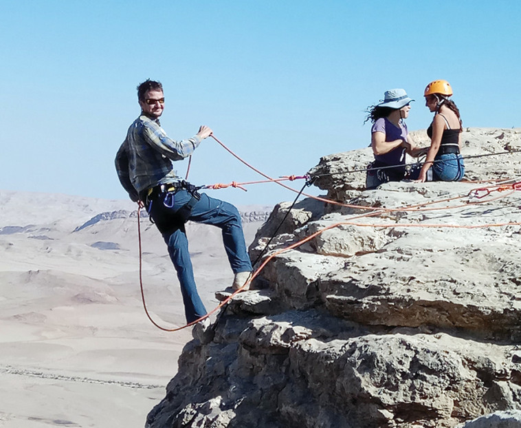 Abseiling in Ramon Crater (Photo: Tali Brill)