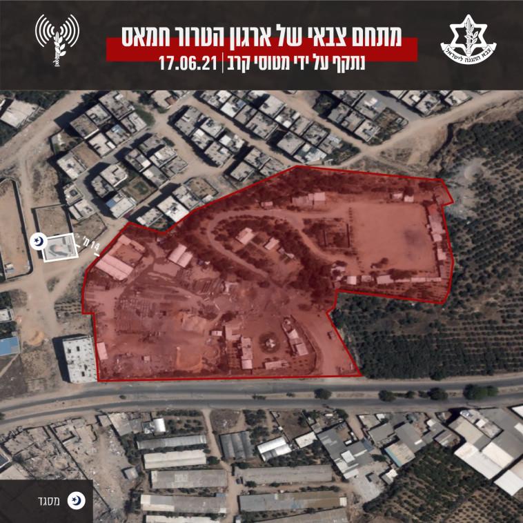 מתחם צבאי של החמאס שנתקף ע''י מטוסי קרב  (צילום: דובר צה''ל)