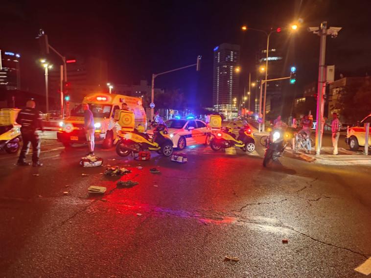 זירת התאונה (צילום: תיעוד מבצעי מד''א)