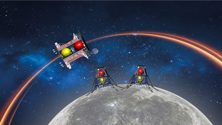 שתי נחיתות על הירח במשימה אחת? (צילום: הדמיה: spaceIL)