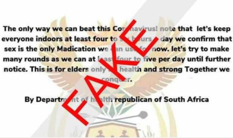המודעה המזויפת שפורסמה בשם משרד הבריאות בדרום אפריקה (צילום: national department of health south africa)