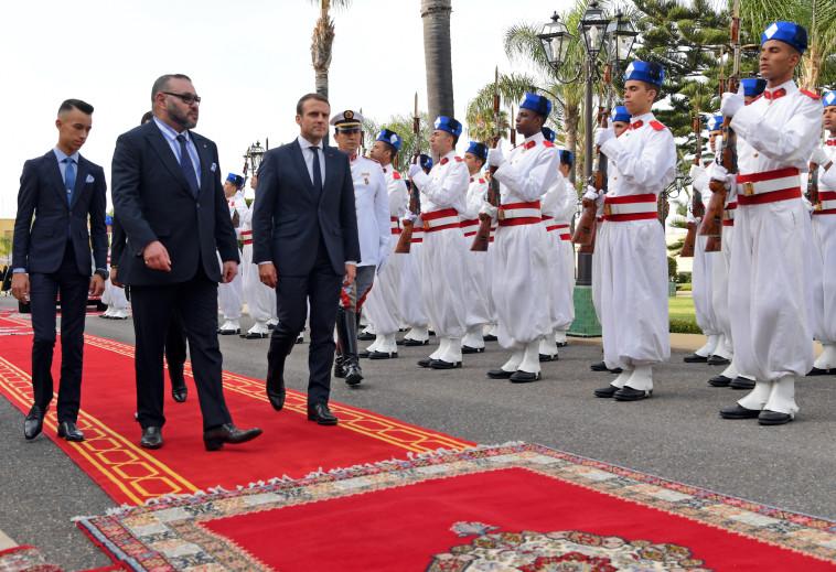 נשיא צרפת ומלך מרוקו בפגישה (צילום: רויטרס)