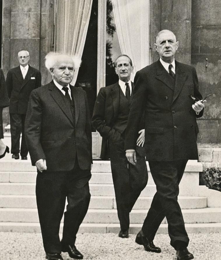 דוד בן גוריון בשנת 1949 בביקור בצרפת (צילום: במחנה)