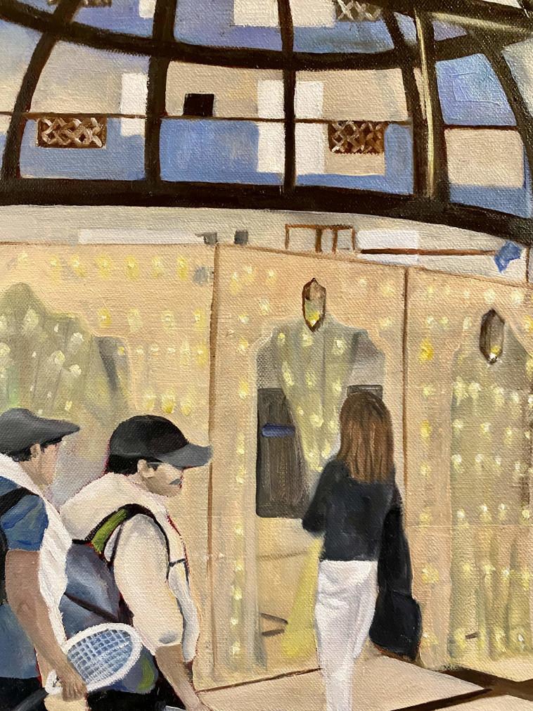"""'""""השתמשתי כהשראה לציור בצילומי הסוכנים ממצלמות האבטחה במלון כשהלובי משמש לי קומפוזיציה לציור"""". """"27 סוכנים''. ציור: עפרי סלע"""