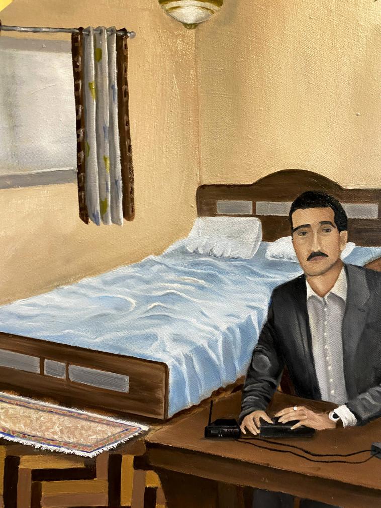 """""""דמיינתי את דמותו של אלי כהן. ויזואל חזק מאד"""". ''האיש שלנו בדמשק''. ציור: עפרי סלע (צילום: ללא)"""