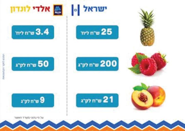 מחירי פירות בישראל בהשוואה ללונדון  (צילום: ללא)