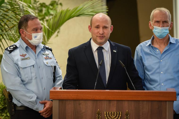 עמר בר לב, נפתלי בנט ומפכ''ל המשטרה יעקב שבתאי (צילום: רוני עופר, פלאש 90)