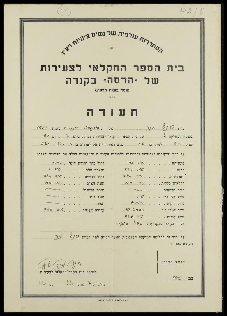 תעודה של חנה סנש (צילום: ארכיון נהלל)
