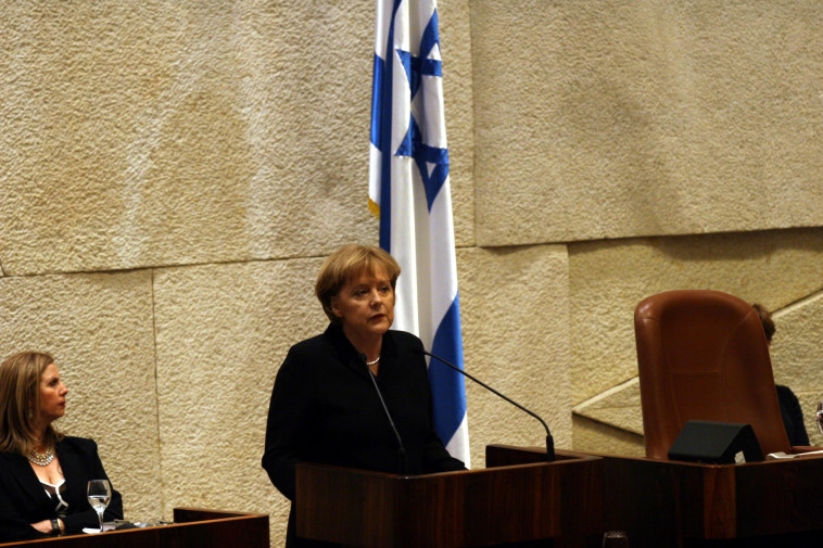 אנגלה מרקל בכנסת ישראל (צילום: יוסי זמיר, פלאש 90)