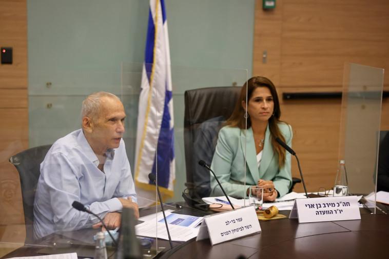 השר עמר בר לב וח''כ מירב בן ארי בוועדה לביטחון פנים (צילום: נועם מושקוביץ, דוברות הכנסת)
