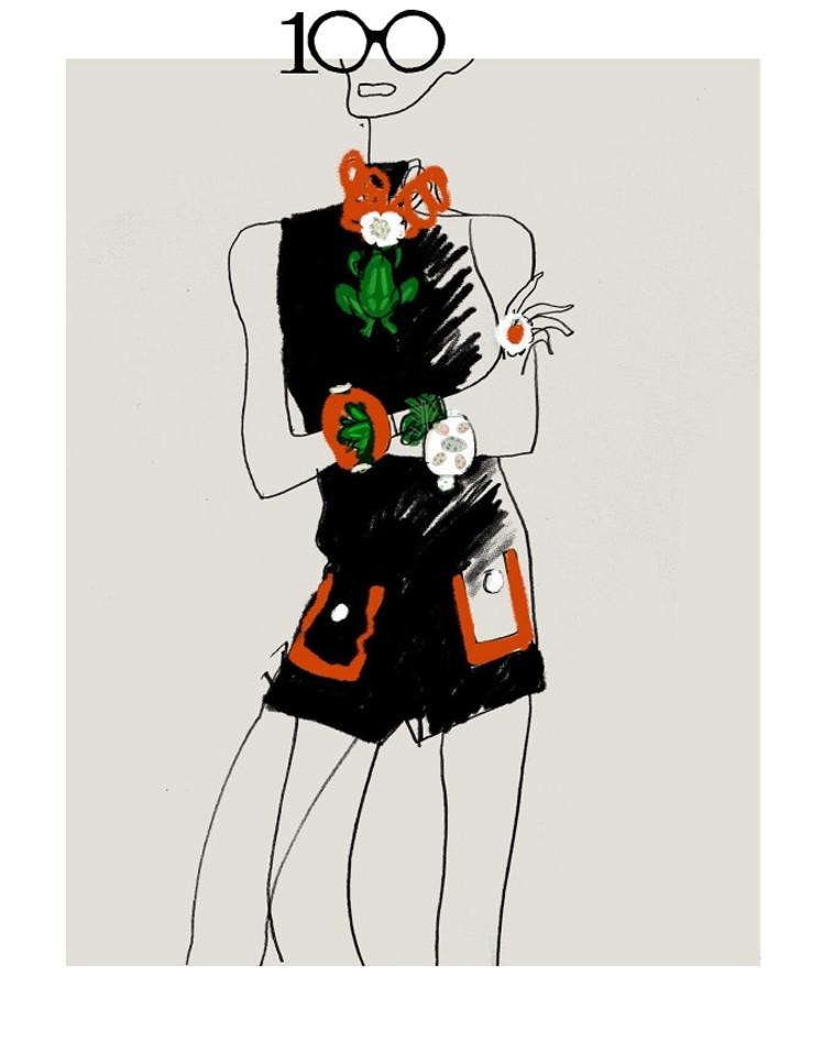 Eine Skizze der H&M Kollektion zum 100. Geburtstag von Iris Apple (Foto: Hans Moritz)