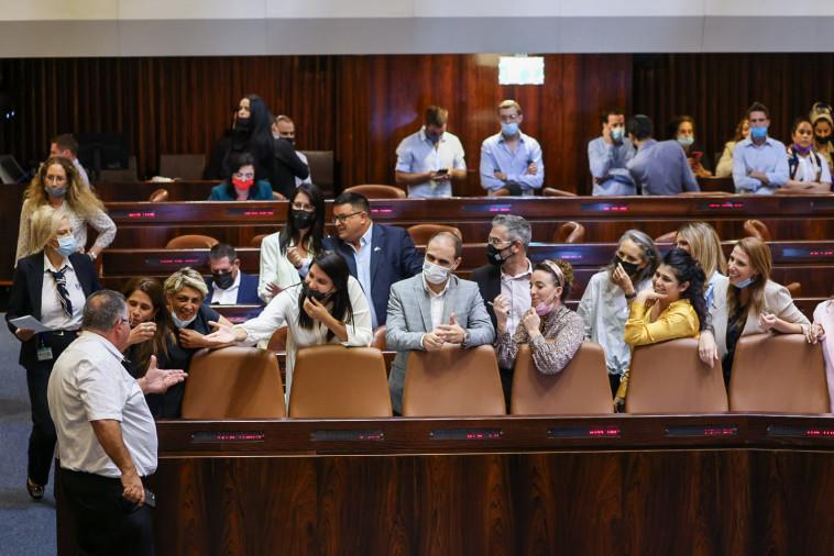 חברי הקואליציה בהצבעה הטרומית על חוק הקנאביס (צילום: נועם מושקוביץ, דוברות הכנסת)