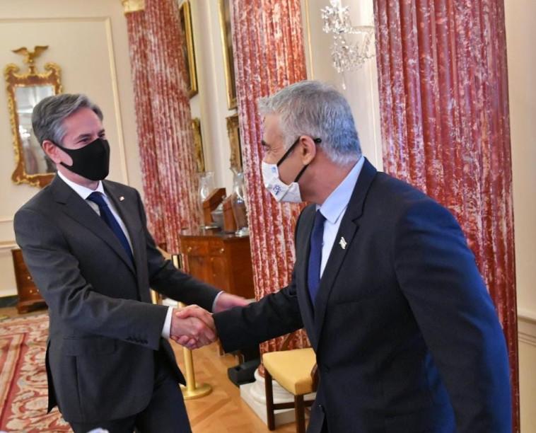 Yair Lapid and Anthony Blinken (Photo: Shlomi Amsalem, GPO)