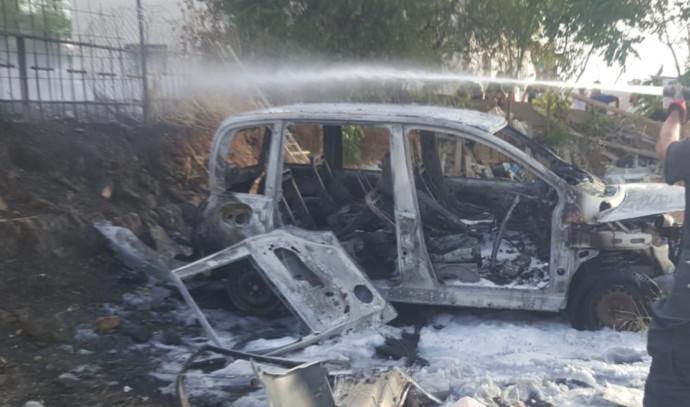 הרכב שעלה באש בגבעון החדשה
