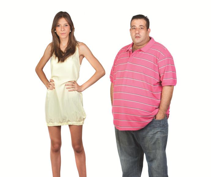 גבר שמן ואישה רזה