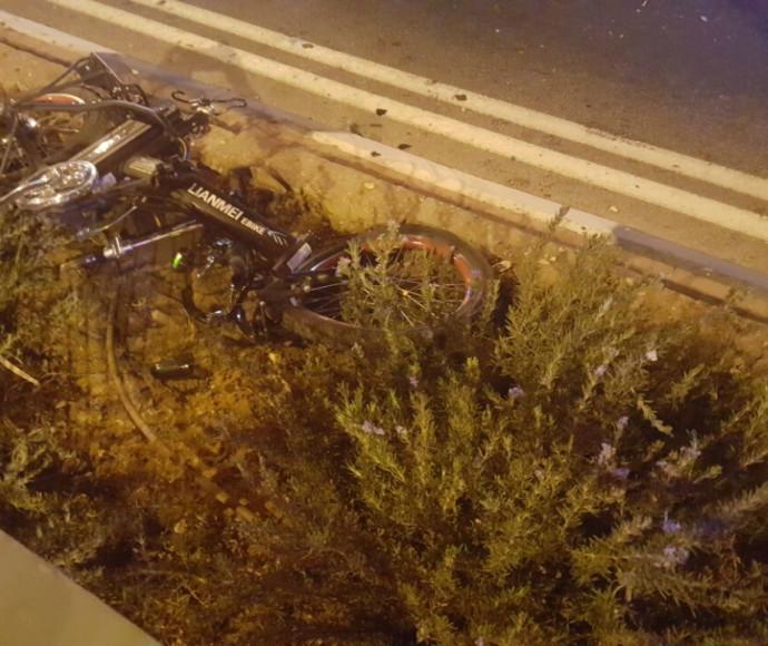 האופניים שנפגעו בתאונה