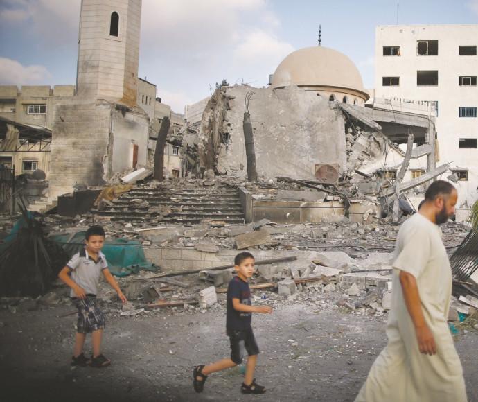 מסגד הרוס בעזה בסוף מבצע צוק איתן