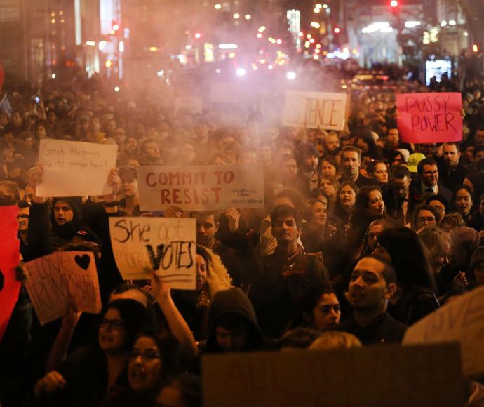 מפגינים נגד טראמפ בניו יורק
