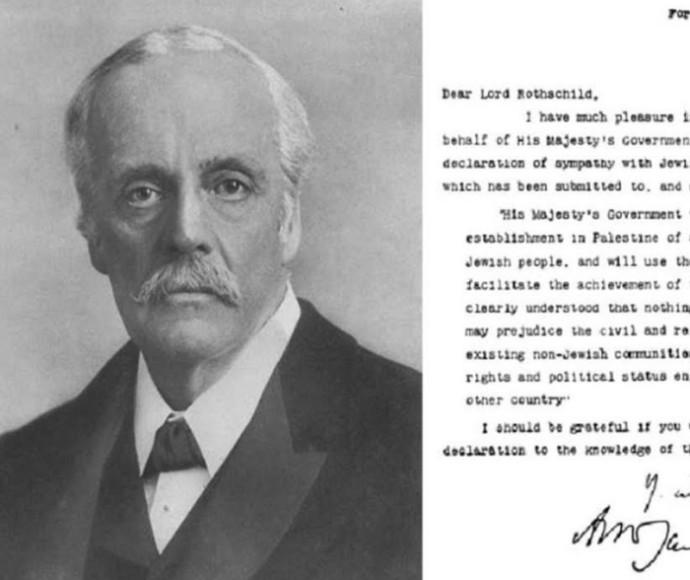 הלורד ארתור בלפור על רקע הצהרת בלפור