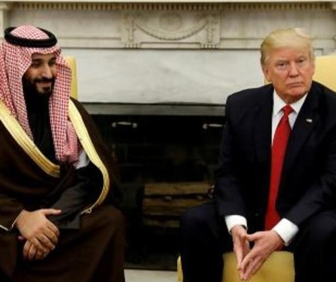 דונלד טראמפ בפגישה עם מוחמד בן סלמן