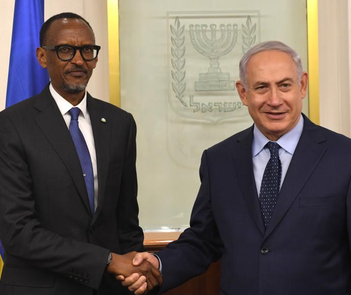 פול קאגמה, נשיא רואנדה, בפגישה עם בנימין נתניהו