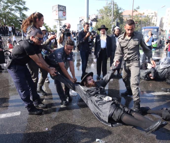 """הפגנת החרדים נגד גיוס לצה""""ל"""