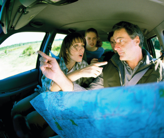 משפחה מתווכחת בטיול, אילוסטרציה