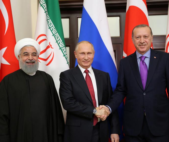 פוטין, ארדואן ורוחאני לאחר הפגישה בסוצ'י