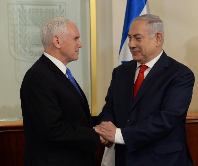 """ראש הממשלה בנימין נתניהו וסגן נשיא ארה""""ב מייק פנס"""