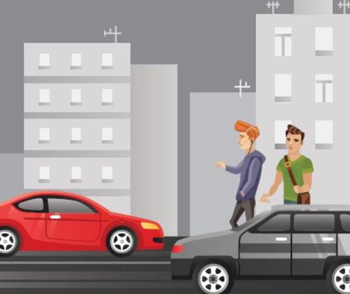 איור: נערים בכביש