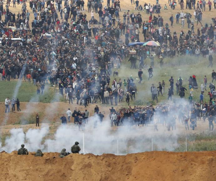 הפרות סדר על גבול הרצועה, צילום: AFP