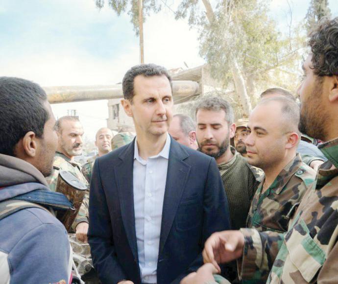 בשאר אסד במפגש עם חיילי צבא סוריה