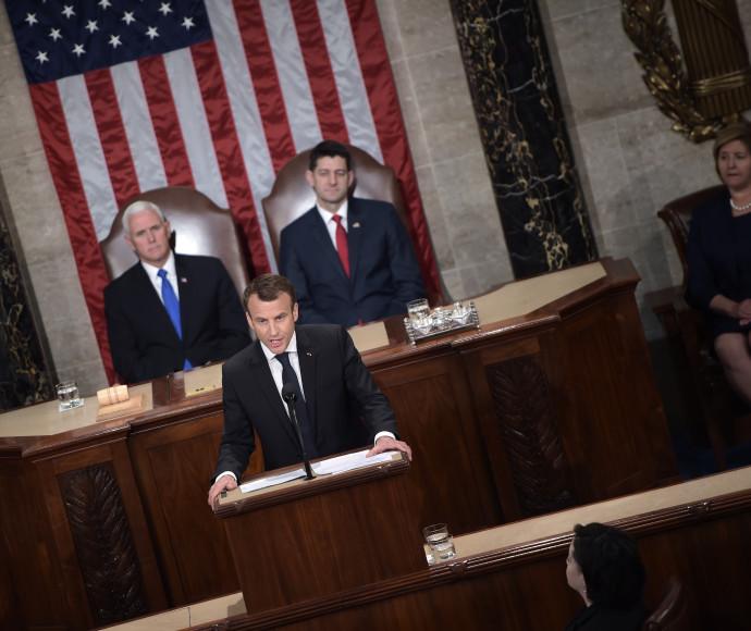 עמנואל מקרון בקונגרס האמריקאי