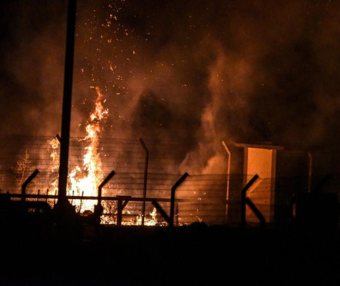 שריפה במעבר כרם שלום