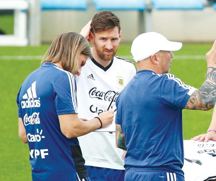 מסי באימון ארגנטינה