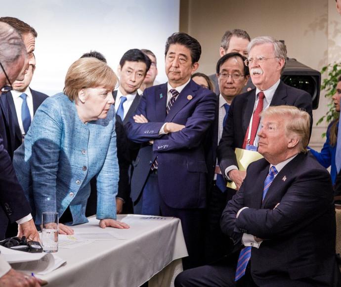 מרקל וטראמפ בסיום ה-G7