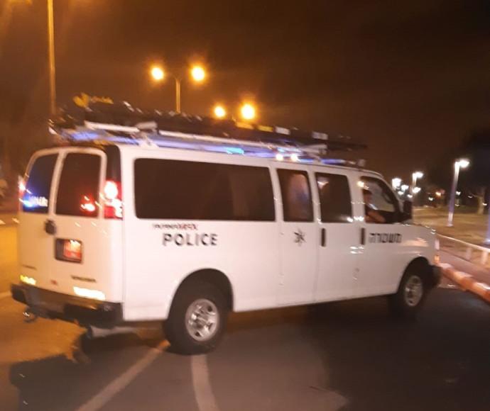 זירת התאונה בתל אביב בה היה מעורב יצחק אספה