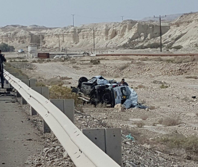 זירת התאונה בכביש 90