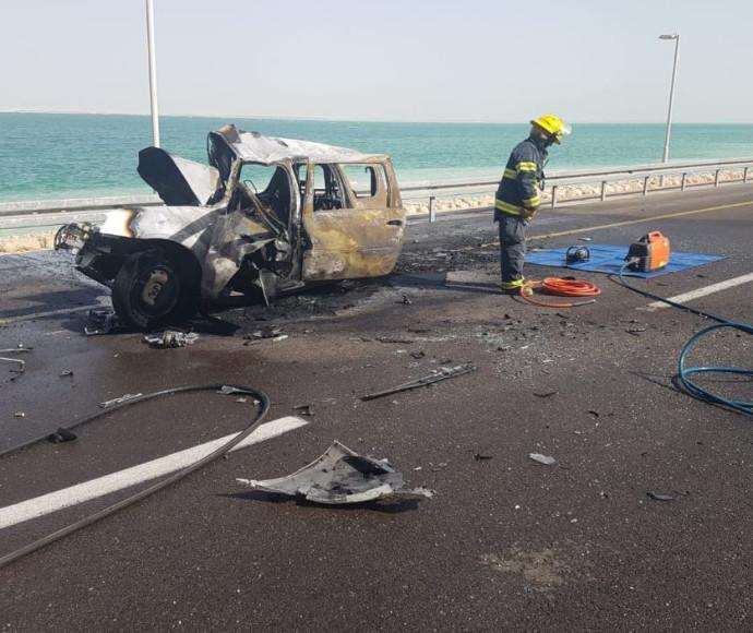 הרכב שעלה באש בתאונה הקשה בכביש 90