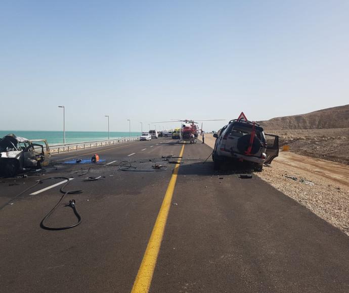 זירת התאונה הקשה בכביש 90
