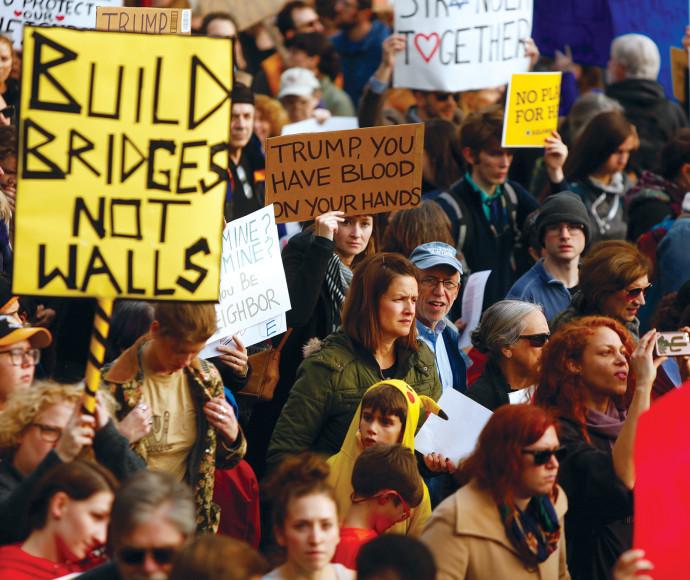 מחאה נגד טראמפ בפיטסבורג