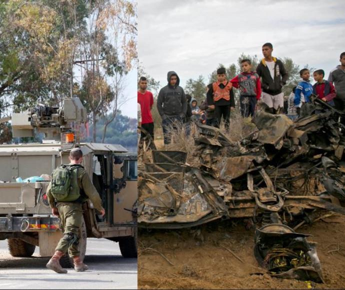 """הרכב ההרוס בעזה לאחר פעולת צה""""ל, חיילים בגבול הרצועה"""